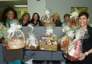 fundraising volunteers holding baskets